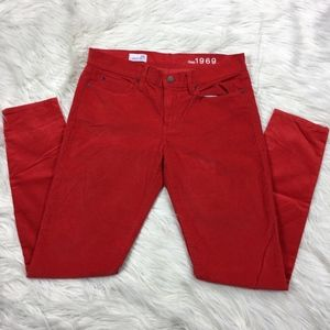 NWOT Gap Red Corduroy Legging Skinny Pants / Jeans